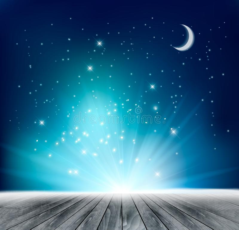 Mooie magische nachtachtergrond stock illustratie
