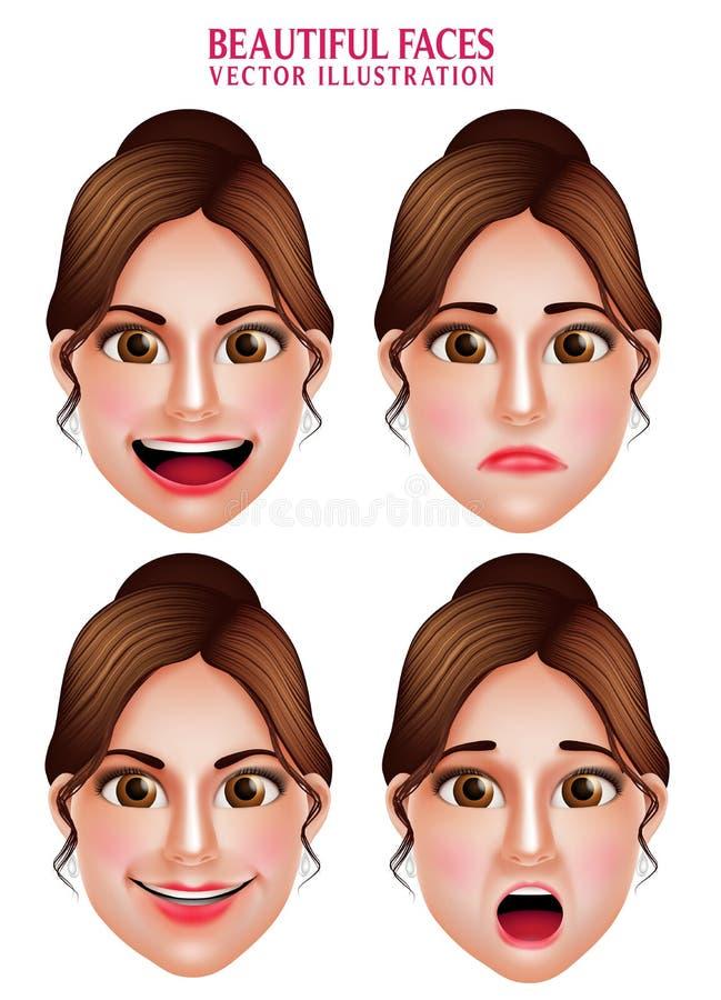 Mooie Make-upgezichten van Vrouwen Vectorkarakter met Gelaatsuitdrukkingen vector illustratie