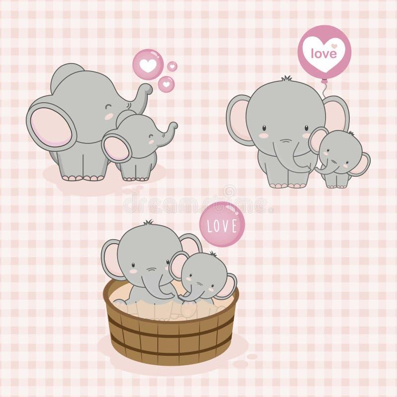 Mooie Mamma en babyolifant met liefde Vector illustratie stock illustratie