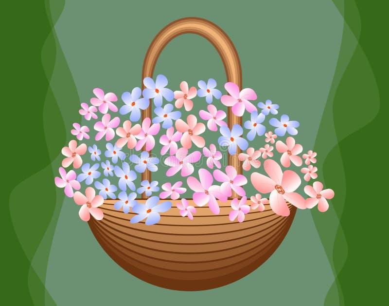 Mooie mand met leuke blauwe en roze bloemen op groene achtergrond, begroetende decoratie, verjaardagspartij, royalty-vrije illustratie
