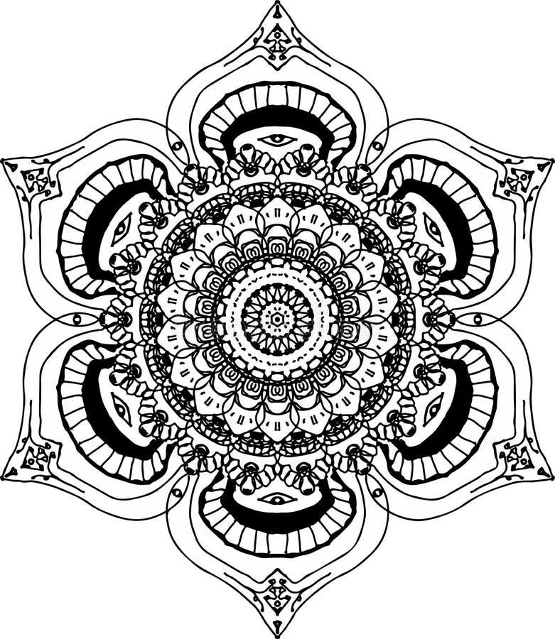 Mooie mandala van de lotusbloembloesem vector illustratie