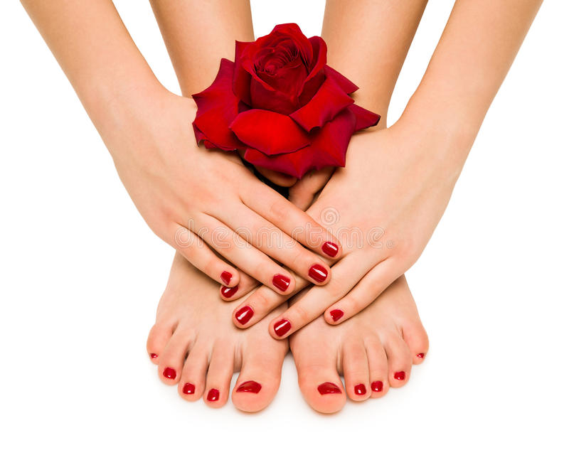 Mooie manicure en pedicure royalty-vrije stock fotografie