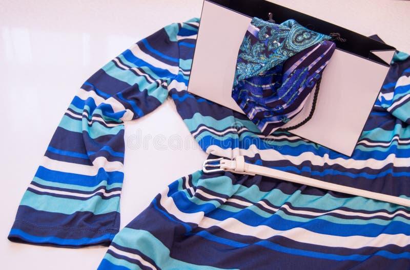 Mooie manier blauwe women& x27; s de Modetrend zeevaartstijl van de blousestreep, het Concept het winkelen stock fotografie