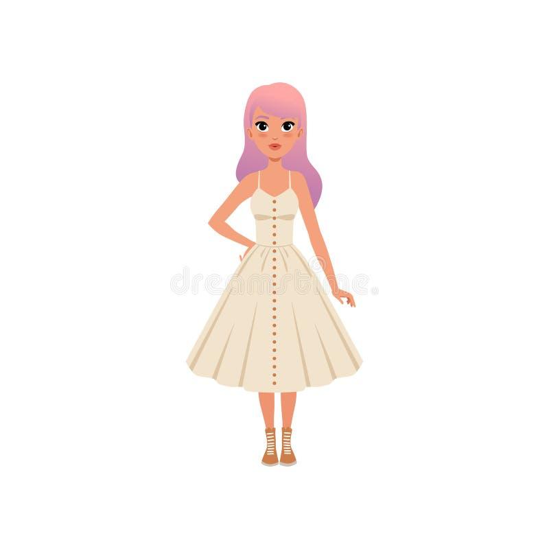 Mooie manier jonge vrouw met lang roze geverft haar, modieus meisje in witte kledings vectorillustratie op een wit stock illustratie