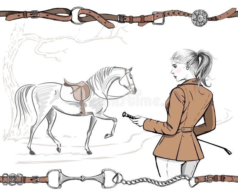 Mooie maniervrouw met het Engelse ruitersport jasje van de de jachtstijl en paard met zadel Ruitermeisje, de tekening AR van de b vector illustratie