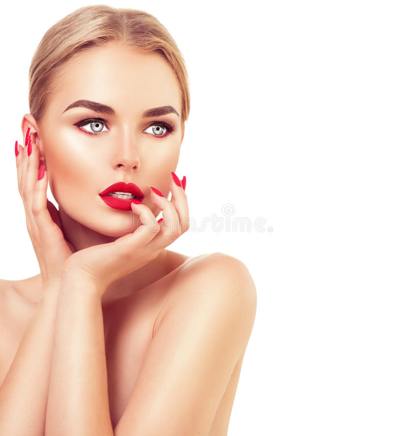 Mooie mannequinvrouw met blond haar royalty-vrije stock fotografie