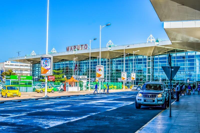 Mooie Maputo luchthavenbuitenkanten in Mozambique stock foto's