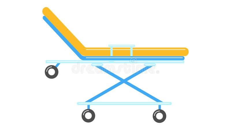 Mooie medische kar op wielenbed in de ziekenwagen om de patiënt op een witte achtergrond te vervoeren Vector illustratie vector illustratie