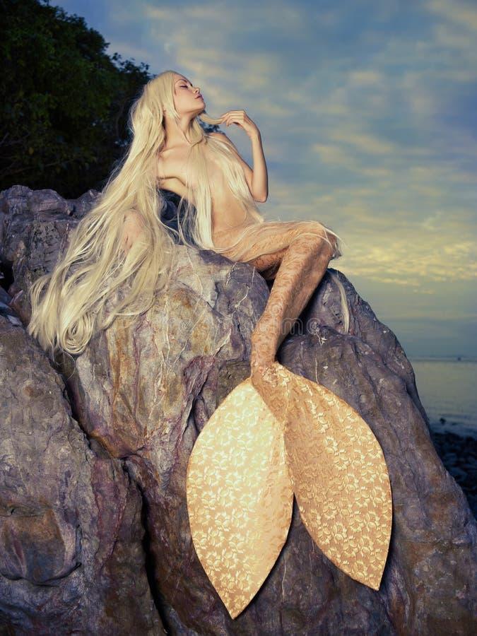 Mooie meerminzitting op rots stock foto's