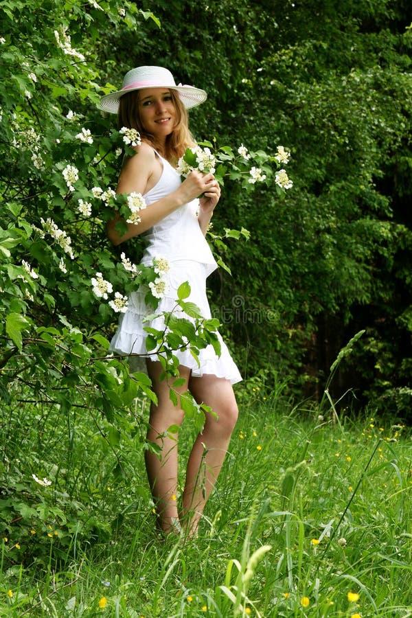 Mooie meisje en bloemen royalty-vrije stock fotografie