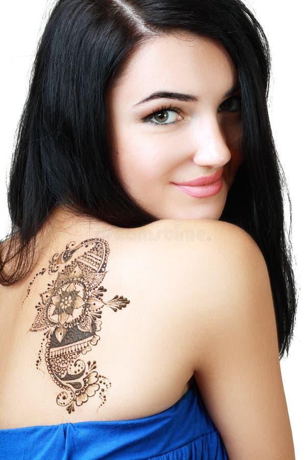 Mooie meisje geschilderde Mehandi royalty-vrije stock afbeeldingen