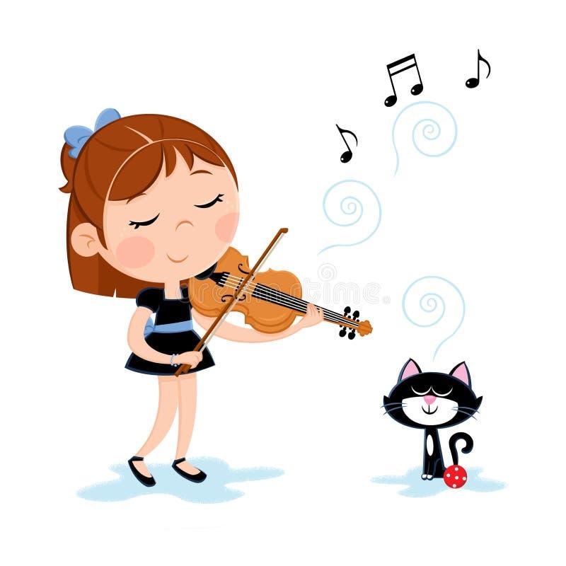 Mooie meisje het spelen viool en weinig zwarte kat die van de melodie genieten vector illustratie