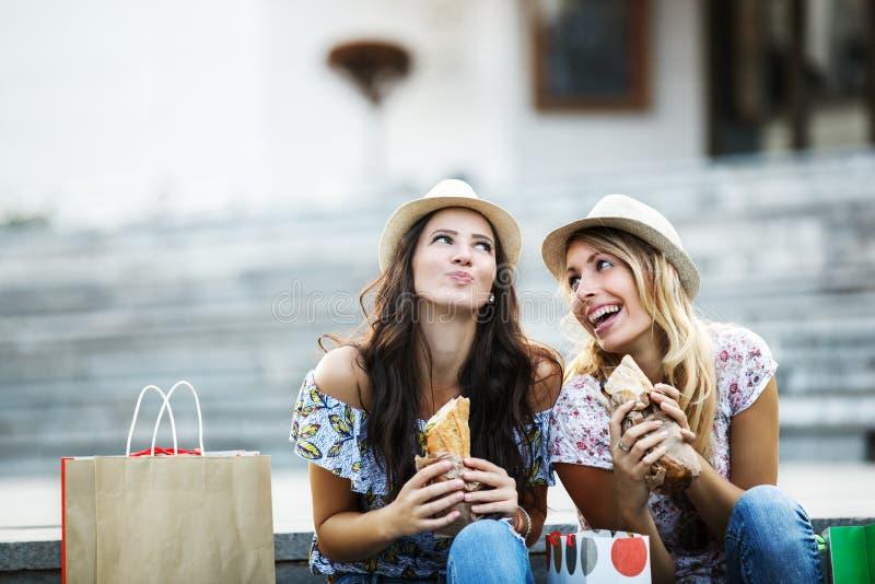 Mooie Meisjes in het Winkelen royalty-vrije stock afbeelding