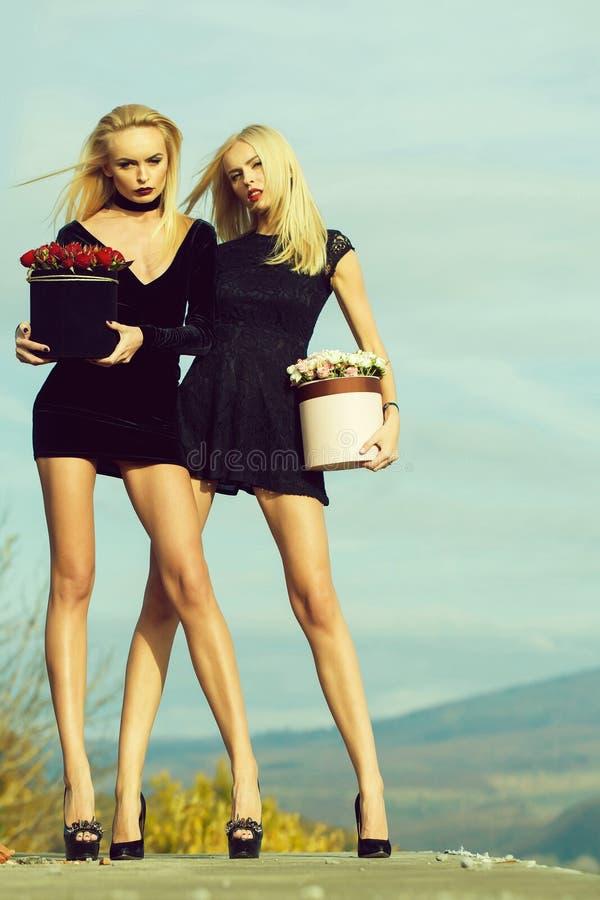 Mooie meisjes met bloemen in doos stock foto's
