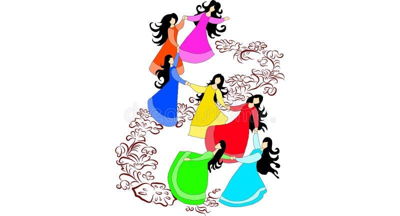 Mooie meisjesdansen op bloem stock afbeelding