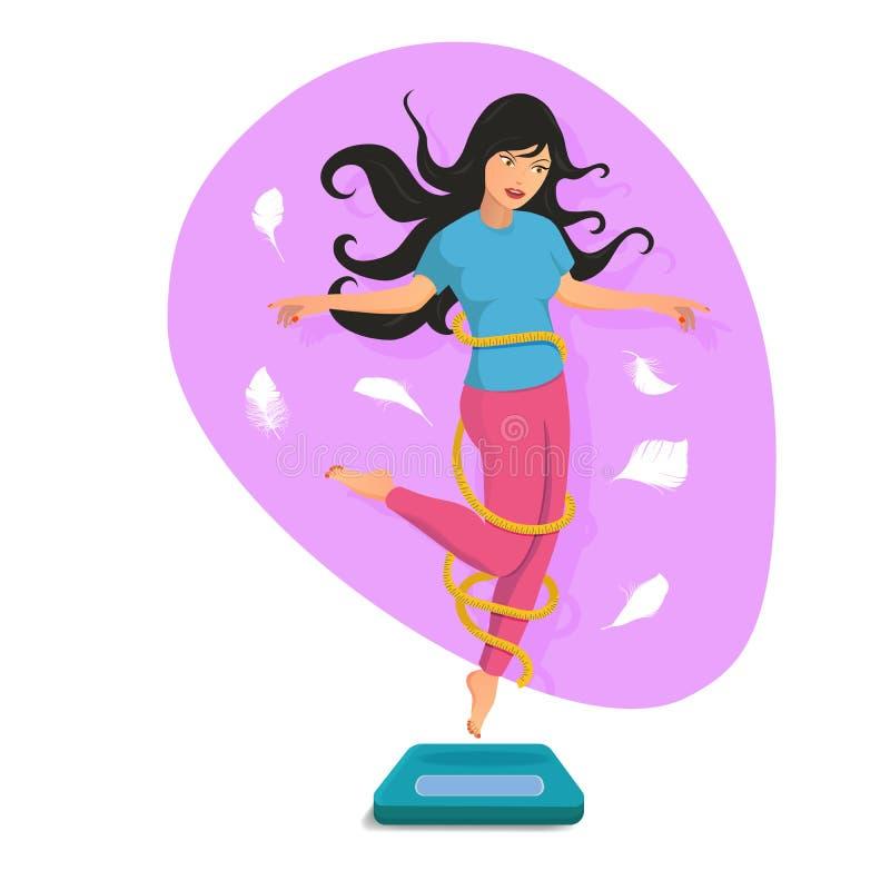 Mooie meisjessprong op de schalen en de glimlach royalty-vrije illustratie