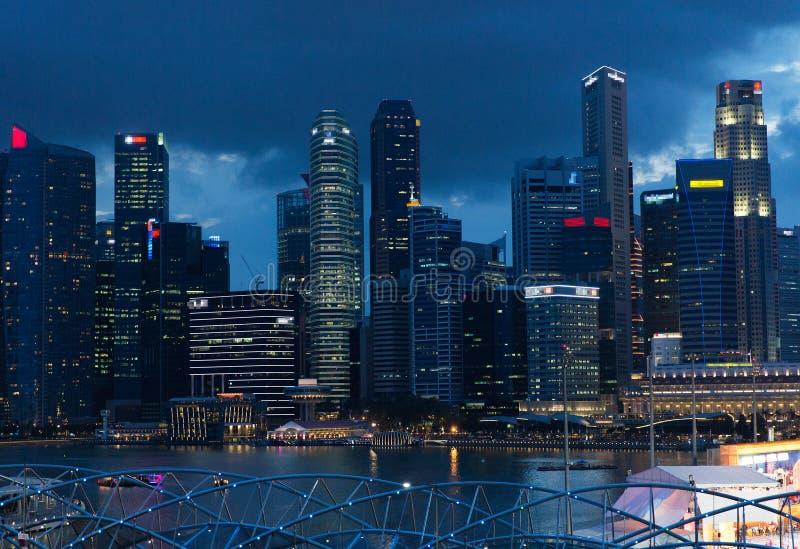 Mooie mening aan de stad van Bangkok bij nacht royalty-vrije stock afbeelding