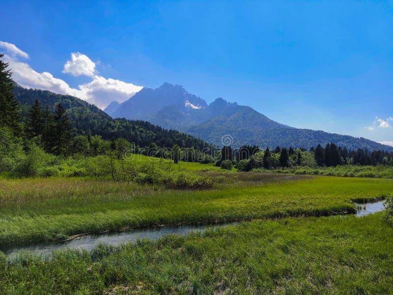 Mooie mening aan Sava Spring en montains stock afbeeldingen