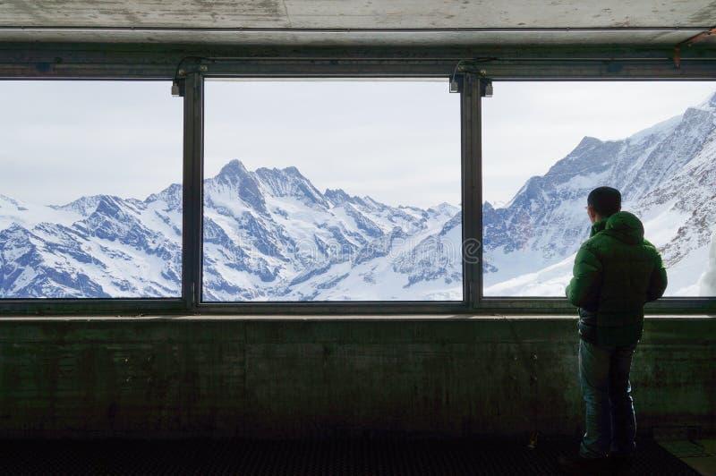 Mooie mening bij Eigerwand-post op de manier aan Jungfrau Joch royalty-vrije stock afbeeldingen