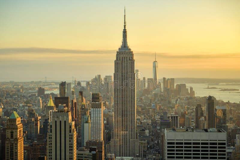 Mooie mening over Manhattan zoals die vanaf bovenkant van Rockefeller Center wordt gezien royalty-vrije stock afbeelding
