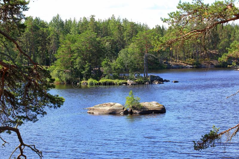 Mooie mening over meer Groot rotsachtig eiland in de midden, groene pijnboombomen rond Blauw water met kleine golven Zweden, stock afbeelding