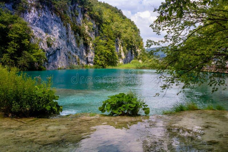 Mooie mening in Plitvice-Meren Nationaal Park Kroatië royalty-vrije stock afbeeldingen