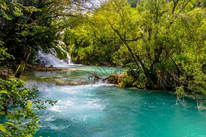 Mooie mening in Plitvice-Meren Nationaal Park Kroatië stock fotografie