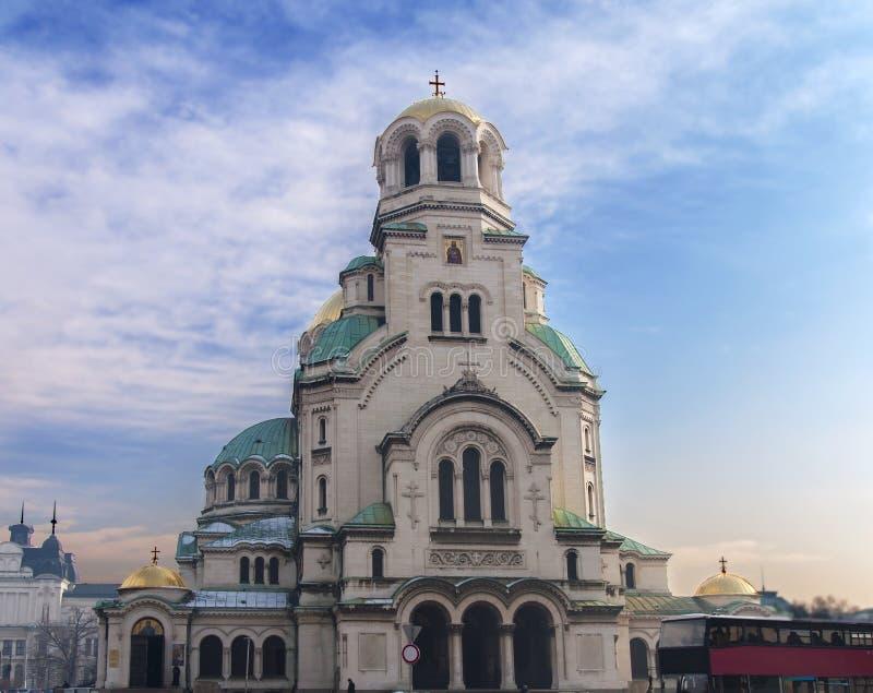 Mooie mening van Alexander Nevsky Cathedral in Sofia royalty-vrije stock afbeeldingen