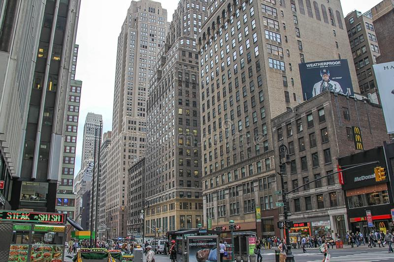 Mooie mening van Broadway-horizon in avondtijd Mooie landschapsachtergronden New York De V.S. stock foto's