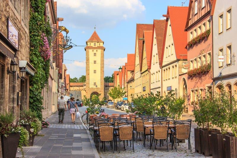 Mooie mening van de historische stad van Rothenburg ob der Tauber, Beieren, Duitsland royalty-vrije stock foto's