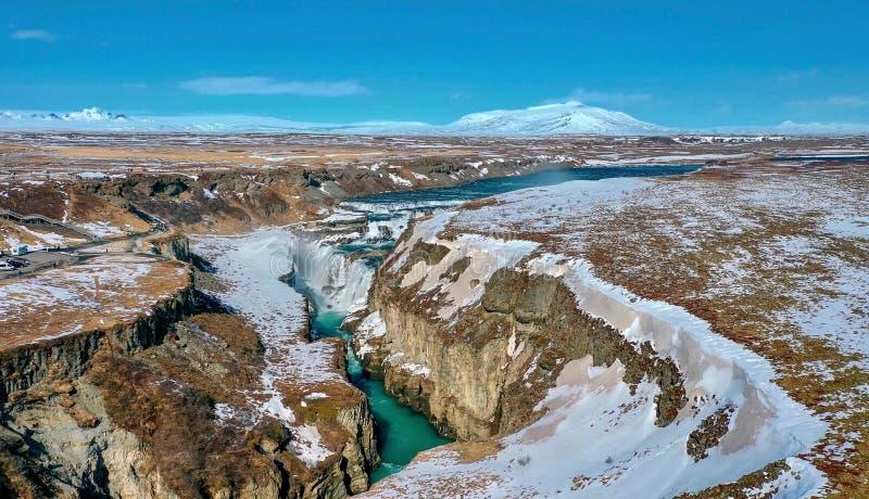 Mooie mening van de hoogte van de waterval Gullfoss royalty-vrije stock afbeelding