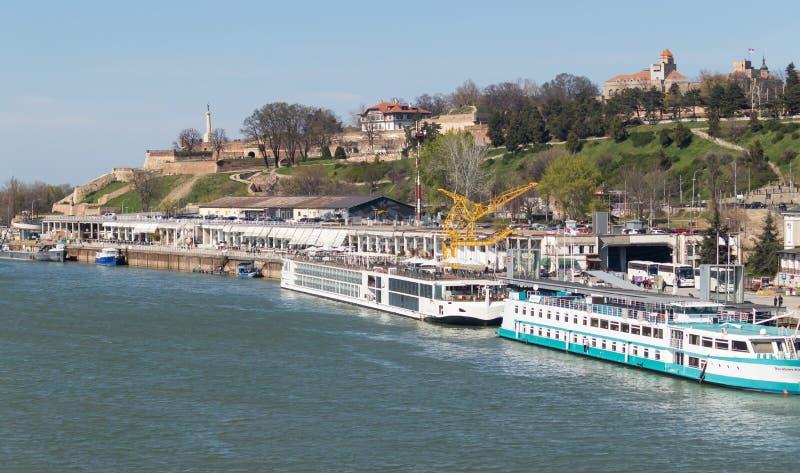 Mooie mening van de Sava-rivierdokken royalty-vrije stock afbeelding