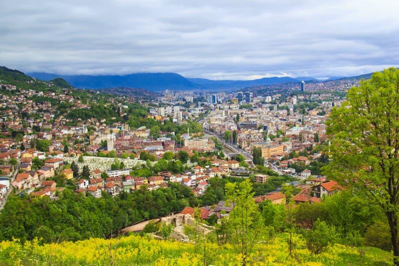 Mooie mening van de stad van Sarajevo, Bosnië-Herzegovina royalty-vrije stock fotografie