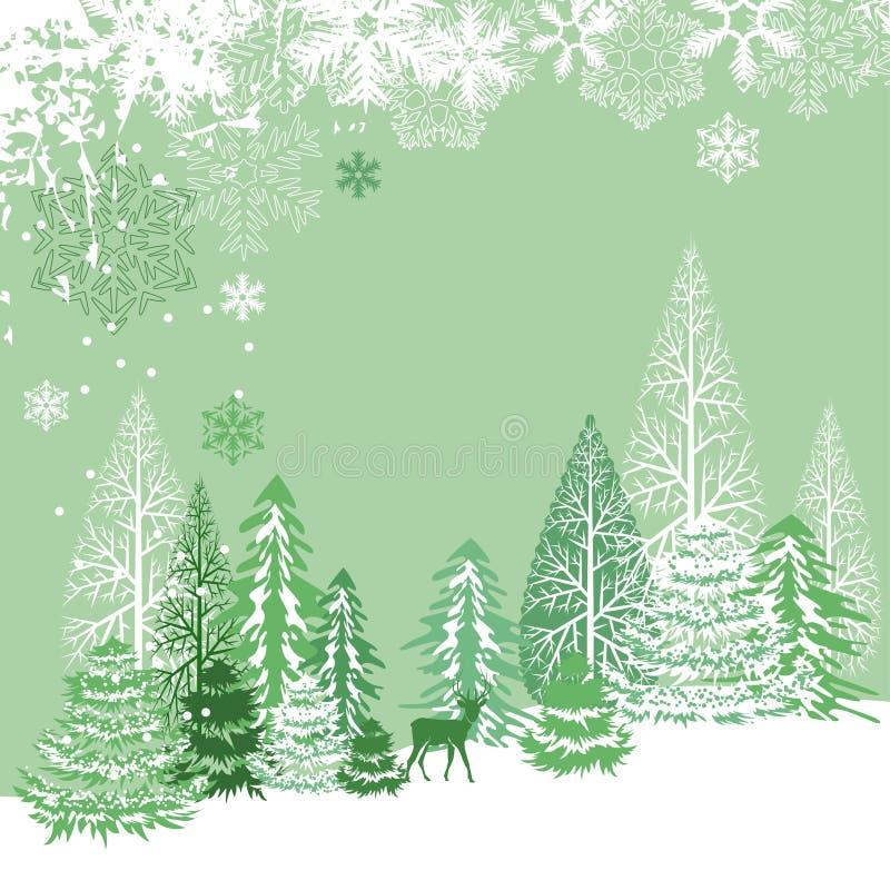 Mooie mening van de winterbos vector illustratie