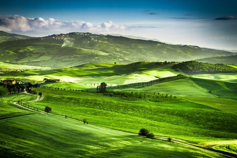 Mooie mening van de zonsondergang over de groene vallei stock afbeelding