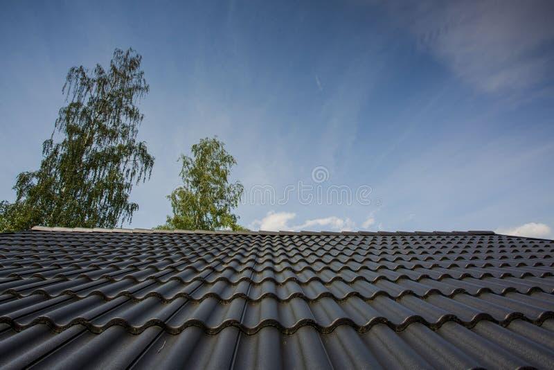 Mooie mening van donkergrijs betegeld dak op bovenkanten van groene bomen en blauwe hemelachtergrond stock afbeelding