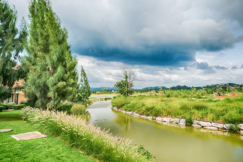 Mooie mening van een klein die meer door groene bomen wordt gescherpt stock afbeeldingen
