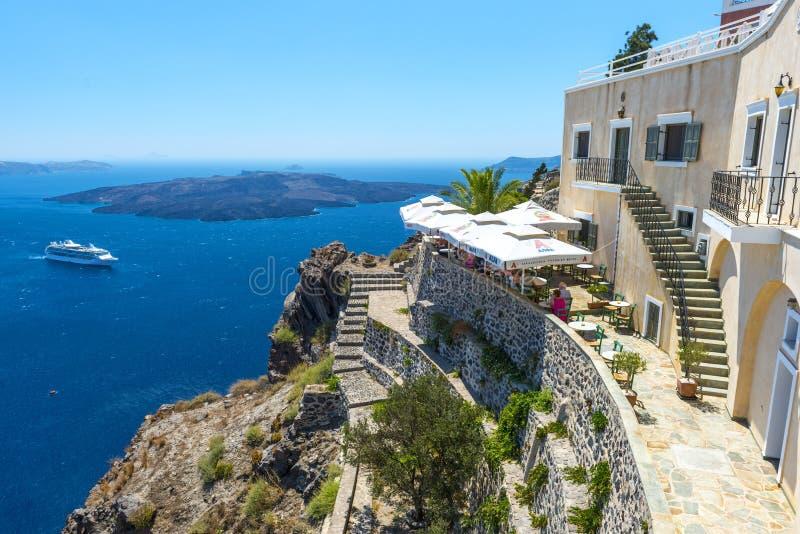 Mooie Mening van Fira, Santorini, Griekenland royalty-vrije stock foto