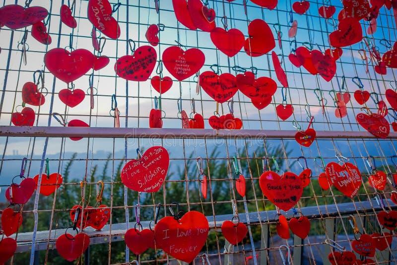 Mooie mening van hartsloten in Penang-Heuvel tijdens zonsondergang, Maleisië stock fotografie