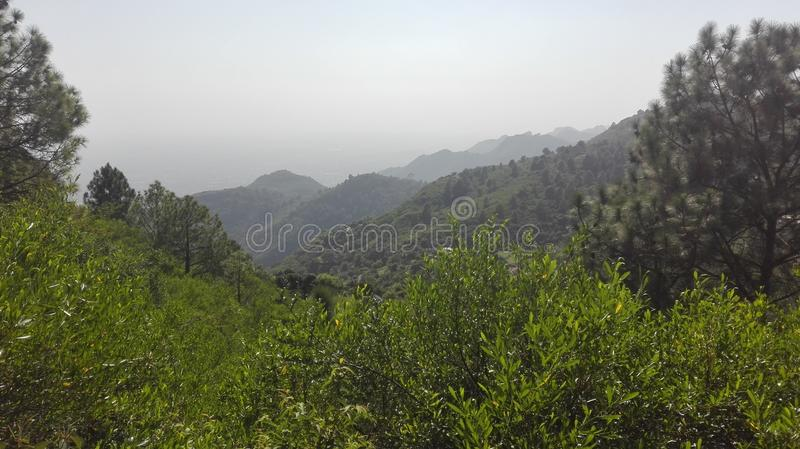 Mooie Mening van Margala-Heuvels, Pakistan met het verbazen landsacpe stock foto's
