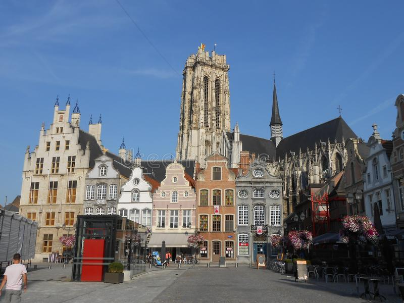Mooie mening van Mechelen, in flamish België royalty-vrije stock foto's