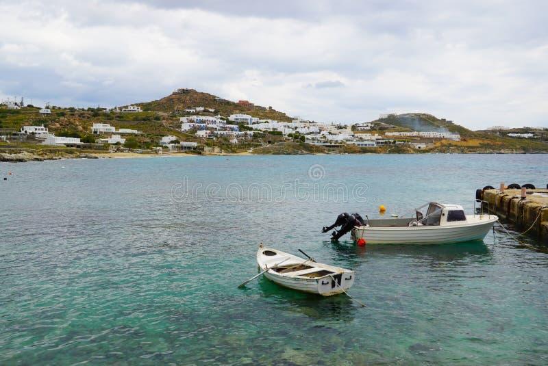 Mooie mening van Mykonos met bewolkte hemel, Griekenland royalty-vrije stock foto's