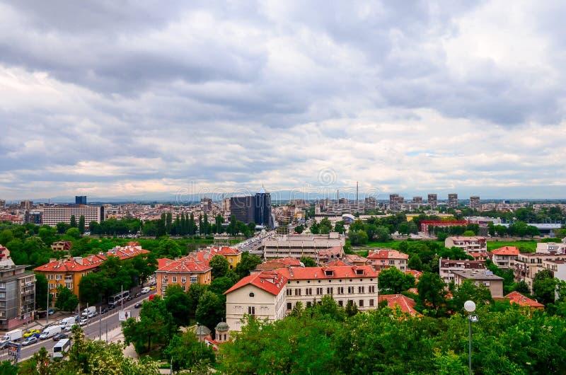 Mooie mening van Plovdiv-stad in Bulgarije stock afbeelding