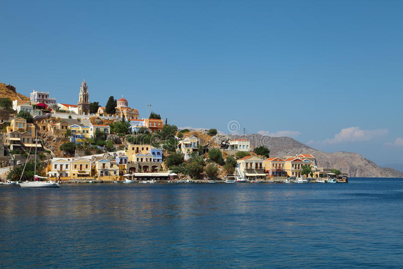 Mooie mening van Symi-eiland in Griekenland royalty-vrije stock afbeelding