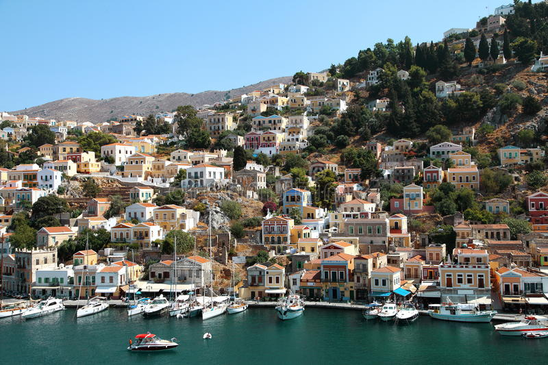 Mooie mening van Symi-eiland in Griekenland royalty-vrije stock foto
