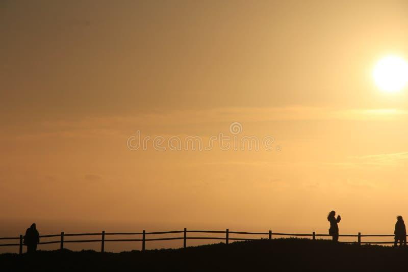 Mooie mening, Zonsondergang, Oceaan, Portugal royalty-vrije stock foto