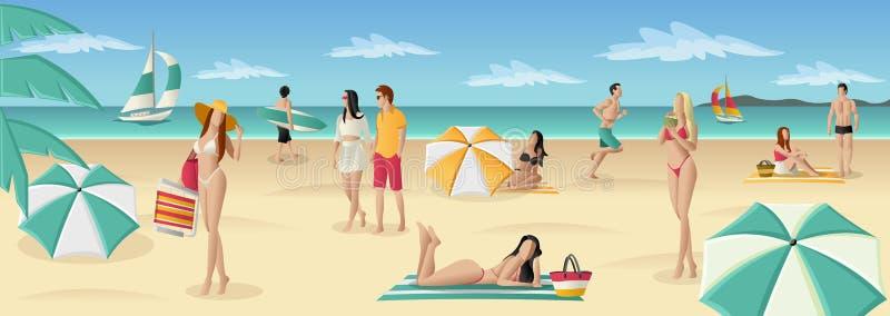 Download Mooie Mensen Op Tropisch Strand Vector Illustratie - Illustratie bestaande uit palm, mooi: 54086053