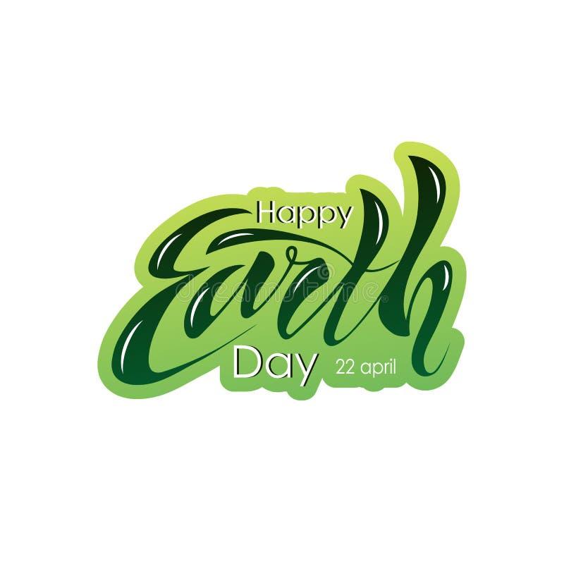 Mooie met de hand geschreven tekst, kalligrafie, het van letters voorzien Gelukkige Aardedag op 22 April op een geweven achtergro vector illustratie