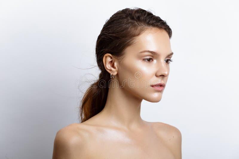 Mooie modelvrouw met natuurlijke samenstelling en donkerbruine haarstu stock fotografie