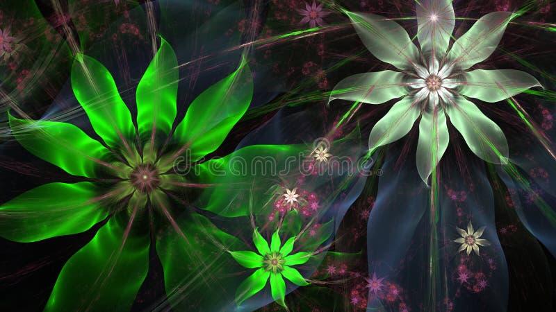 Mooie moderne bloemachtergrond in het glanzen blauwe, groene, roze, zilveren kleuren vector illustratie